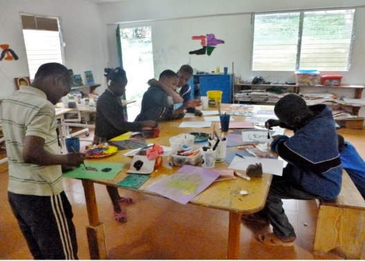 Some of the children at work during one of the more quiet periods in the open studio.